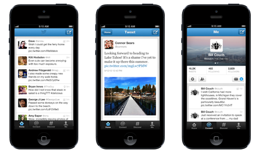 Capturas de la app de Twitter para iPhone.