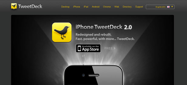Cabecera de Tweetdeck para iPhone.